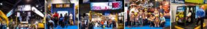 multiple picture of tradeshow booths