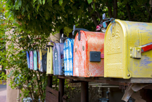 row of mailboxes