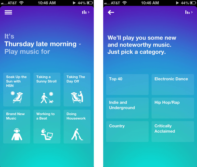 Songza App Concierge UX