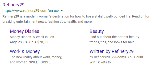 Google result for Refinery 29